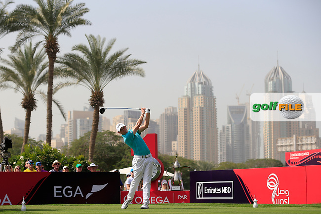 Matthew Fitzpatrick (ENG) on the 1st tee during Round 4 of the Omega Dubai Desert Classic, Emirates Golf Club, Dubai,  United Arab Emirates. 27/01/2019<br /> Picture: Golffile | Thos Caffrey<br /> <br /> <br /> All photo usage must carry mandatory copyright credit (&copy; Golffile | Thos Caffrey)