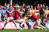 Picture by Alex Whitehead/SWpix.com - 12/03/2017 - Rugby League - Betfred Super League - Wakefield Trinity v Salford Red Devils - Beaumont Legal Stadium, Wakefield, England - Salford's Ben Murdoch-Masila is tackled by Wakefield's Matty Ashurst and Tinirau Arona.