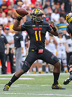 College Park, MD - September 9, 2017: Maryland Terrapins quarterback Kasim Hill (11) throws a pass during game between Towson and Maryland at  Capital One Field at Maryland Stadium in College Park, MD.  (Photo by Elliott Brown/Media Images International)