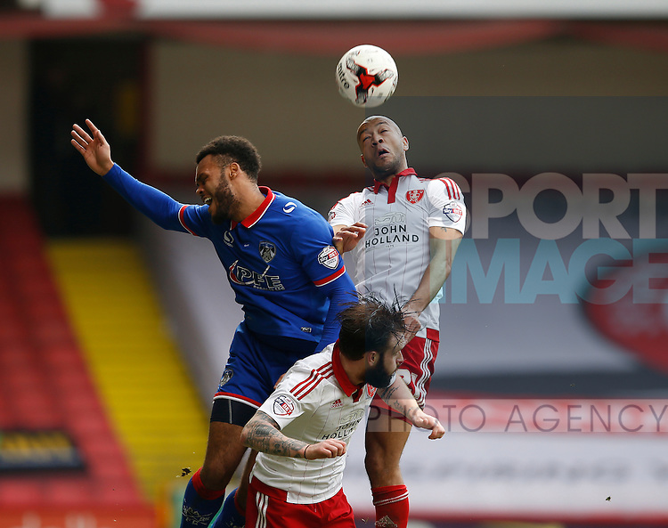 Alex Baptiste of Sheffield Utd rises up to win the header during the Sky Bet League One match at The Bramall Lane Stadium.  Photo credit should read: Simon Bellis/Sportimage