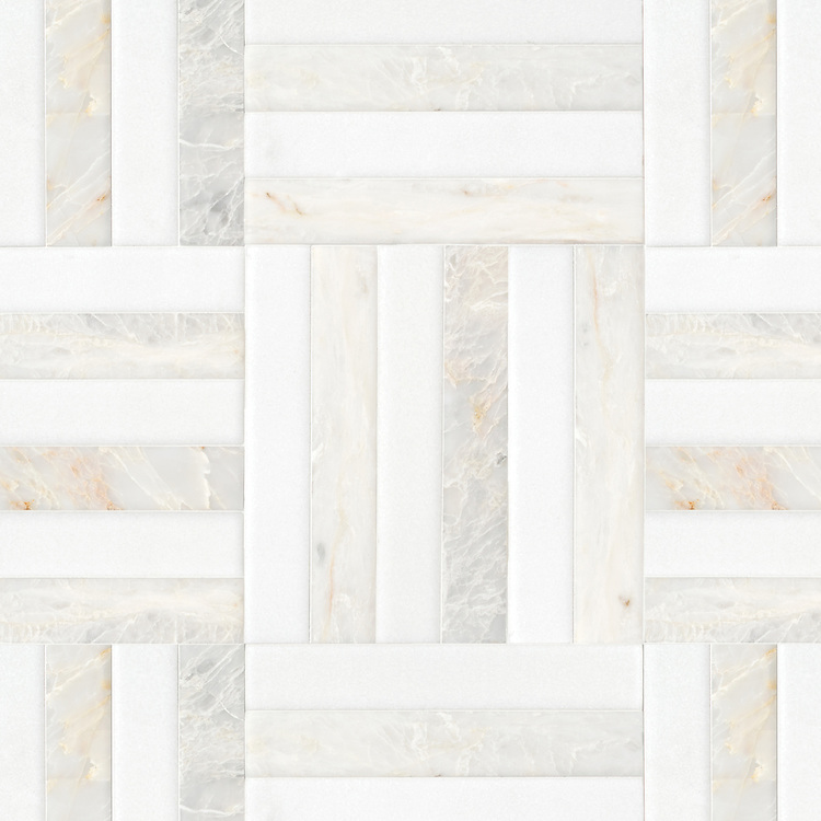 Cabin Weave Grand, a hand-cut stone mosaic, shown in Venetian honed Thassos and Cloud Nine  , is part of the Tissé™ collection for New Ravenna.