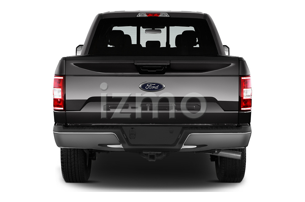 Straight rear view of 2018 Ford F-150 Lariat 4 Door Pick-up Rear View  stock images
