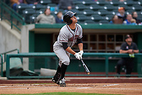 Quad Cities River Bandits center fielder Alex McKenna (4) during a Midwest League game against the Fort Wayne TinCaps at Parkview Field on May 3, 2019 in Fort Wayne, Indiana. Quad Cities defeated Fort Wayne 4-3. (Zachary Lucy/Four Seam Images)