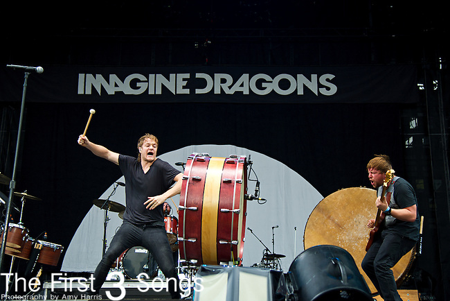 Dan Reynolds and Ben McKee of Imagine Dragons performs during the 2013 Budweiser Made in America Festival in Philadelphia, Pennsylvania.