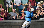 Belleville East catcher Gage Cruz lines up for the catch behind home plate. Belleville East defeated Belleville West 1-0 in a Class 3A Baseball Regional playoff game on Wednesday May 23, 2018. Tim Vizer | Special to STLhighschoolsports.com