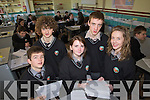 Eoin Scollard, Padraig Treabhair, Fiona Ni Raghaill Niocalas MacGearailt and Rosin NiEalaithe Students for Gaelcolaiste Chiarrai who are entering a project in the Young Scientist exhibition.