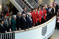 Members of the Hall of Fame pose for a photo after the ceremony on Monday October 11, 2004 at the National Soccer Hall of Fame and Museum, Oneonta, NY..