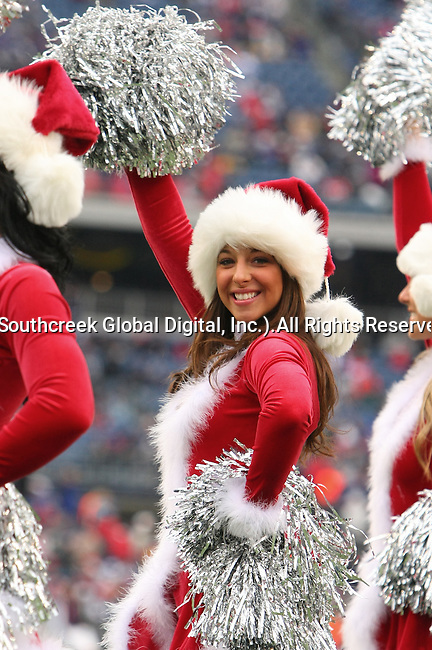 13December2009: New England Patriot cheerleaders entertain the crowd. The New England Patriots defeated the Carolina Panthers 20-10 at Gillette Stadium in Foxborough, Massachusetts.