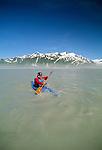 Kayaker on Alsek River, St. Elias Mountains, Alaska