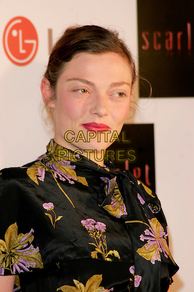 "CAMILLA RUTHERFORD .""Scarlet"" - TV series launch, No. 1 Marylebone, Marylebone Road, London, England..April 30th, 2008.headshot portrait black green purple floral print high collar asian style .CAP/AH.©Adam Houghton/Capital Pictures."