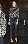 """Model Georgie poses in a leopard mohair jacquard sweatshirt and black brocade floral jacquard high waist slim tux trouser, from the Veronica Beard Fall 2016 """"Gypsy Caravan"""" collection presentation, at the Highline Hotel on February 15 2016, during New York Fashion Week Fall 2016."""