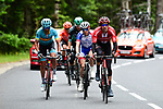 Tom Dumoulin (NED) Team Sunweb, David Gaudu (FRA) Groupama-FDJ, Emanuel Buchmann (GER) Bora-Hansgrohe, Gorka Izagirre Insausti (ESP) Astana Pro Team and Alessandro De Marchi (ITA) CCC Team from the original breakaway group with 35km to go during Stage 2 of the Criterium du Dauphine 2019, running 180km from Mauriac to Craponne-sur-Arzon, France. 9th June 2019<br /> Picture: ASO/Alex Broadway | Cyclefile<br /> All photos usage must carry mandatory copyright credit (© Cyclefile | ASO/Alex Broadway)