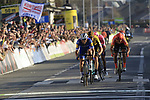 Zdenek Stybar (CZE) Deceuninck-Quick Step attacks Greg Van Avermaet (BEL) CCC Team, Wout Van Aert (BEL) Team Jumbo-Visma and Alberto Bettiol (ITA) EF Education First as they race towards the finish line at the end of the 2019 E3 Harelbeke Binck Bank Classic 2019 running 203.9km from Harelbeke to Harelbeke, Belgium. 29th March 2019.<br /> Picture: Eoin Clarke | Cyclefile<br /> <br /> All photos usage must carry mandatory copyright credit (© Cyclefile | Eoin Clarke)