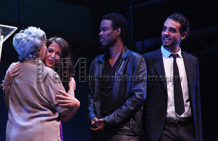 Annabella Sciorra, Zoe Caldwell, Chris Rock & Bobby Cannavale.during the 2001 Theatre World Awards Presentation at the August Wilson Theatre in New York City.