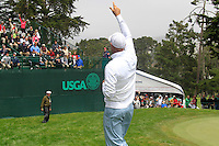 Stewart Cink (USA) throws some balls to the gallery at the 7th hole during Wednesday's Practice Day of the 112th US Open Championship at The Olympic Club, San Francisco,  California, 13th June 2012 (Photo Eoin Clarke/www.golffile.ie)