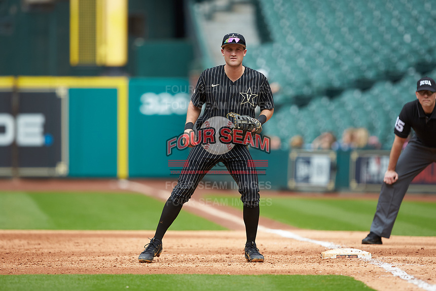 Vanderbilt Commodores first baseman Julian Infante (22) on defense against the Sam Houston State Bearkats in game one of the 2018 Shriners Hospitals for Children College Classic at Minute Maid Park on March 2, 2018 in Houston, Texas. The Bearkats walked-off the Commodores 7-6 in 10 innings.   (Brian Westerholt/Four Seam Images)