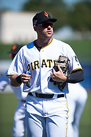 Surprise Saguaros first baseman Will Craig (45), of the Pittsburgh Pirates organization, before an Arizona Fall League game against the Salt River Rafters on October 9, 2018 at Surprise Stadium in Surprise, Arizona. Salt River defeated Surprise 10-8. (Zachary Lucy/Four Seam Images)