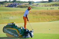 Rickie Fowler (USA) sinks his putt on 18 during Sunday's round 4 of the 117th U.S. Open, at Erin Hills, Erin, Wisconsin. 6/18/2017.<br /> Picture: Golffile | Ken Murray<br /> <br /> <br /> All photo usage must carry mandatory copyright credit (&copy; Golffile | Ken Murray)