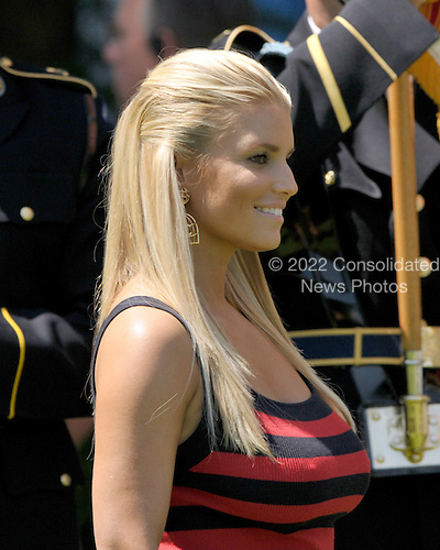 Bethesda, MD - July 1, 2009 -- Jessica Simpson prepares to sing the National Anthem during the opening ceremony for the AT&T National Hosted by Tiger Woods at Congressional Country Club in Bethesda, Maryland on Wednesday, July 1, 2009..Credit: Ron Sachs / CNP