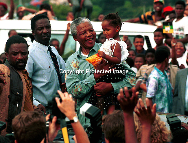 dipeman00472 .President Nelson Mandela at an ANC rally in Durban, days before the first democratic election in February 1994. .©Per-Anders Pettersson/iAfrika Photos