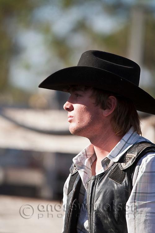 Portrait of cowboy.  Mareebaa Rodeo, Mareeba, Queensland, Australia