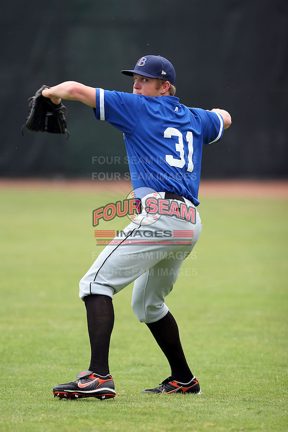 July 14th, 2007:  Sean Tracey of the Aberdeen Ironbirds, Class-A Short-Season affiliate of the Baltimore Orioles, throws in the outfield before a game vs the Jamestown Jammers in New York-Penn League action while on rehab assignment from the Norfolk Tides.  Photo by: Mike Janes/Four Seam Images