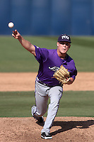 Kaleb Merck #6 of the TCU Horned Frogs pitches against the Cal State Fullerton Titans at Goodwin Field on February 26, 2012 in Fullerton,California. Fullerton defeated TCU 11-10.(Larry Goren/Four Seam Images)