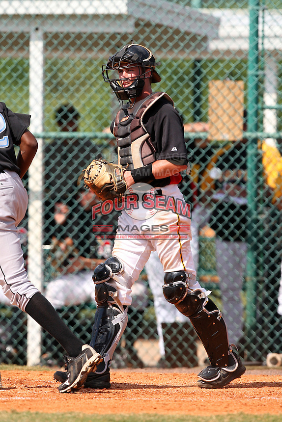 Pittsburgh Pirates minor league catcher Joseph Schoenfeld vs. the Toronto Blue Jays during an Instructional League game at Pirate City in Bradenton, Florida;  October 11, 2010.  Photo By Mike Janes/Four Seam Images