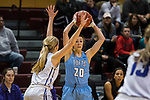 GRAND RAPIDS, MI - MARCH 18: Josie Lee (20) of Tufts University looks for someone to pass to during the Division III Women's Basketball Championship held at Van Noord Arena on March 18, 2017 in Grand Rapids, Michigan. Amherst College defeated Tufts University 52-29 for the national title. (Photo by Brady Kenniston/NCAA Photos via Getty Images)