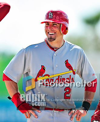 14 March 2010: St. Louis Cardinals' infielder Tyler Greene in action during a Spring Training game against the Washington Nationals at Space Coast Stadium in Viera, Florida. The Cardinals defeated the Nationals 7-3 in Grapefruit League action. Mandatory Credit: Ed Wolfstein Photo