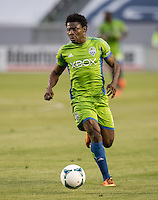 CARSON, CA - June 1, 2013: Seattle Sounders FC forward Obafemi Martins (9) celebrates his goal during the Chivas USA vs Seattle Sounders match at the StubHub Center in Carson, California.