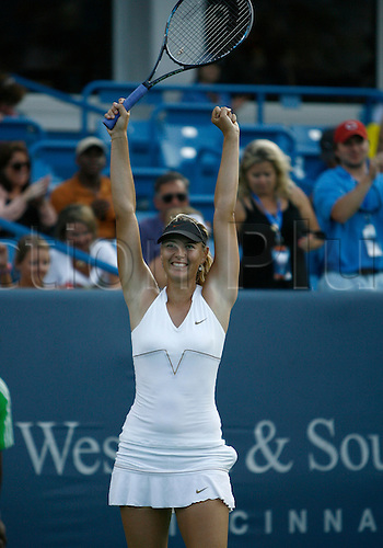 21.08.2011..Maria Sharapova [RUS] reacts after the final shot as she wins the 2011 Western & Southern Open Women's Championship at the Western & Southern Open at the Lindner Family Tennis Center in Mason, Ohio...Sharapova defeated Jelena Jankovic [SRB] 4-6, 7-6, 6-3..