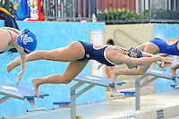14 January 2012:  FIU's Klara Andersson competes in the 100 yard freestyle as the FIU Golden Panthers won the meet with the Central Connecticut State University Blue Devils at the Biscayne Bay Campus Aquatics Center in Miami, Florida.