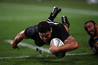 Codie Taylor scores during the Rugby Championship match between the New Zealand All Blacks and South Africa Springboks at QBE Stadium in Albany, Auckland, New Zealand on Saturday, 16 September 2017. Photo: Shane Wenzlick / lintottphoto.co.nz