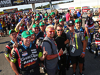 Sep 5, 2016; Clermont, IN, USA; NHRA top fuel driver Clay Millican and crew during the US Nationals at Lucas Oil Raceway. Mandatory Credit: Mark J. Rebilas-USA TODAY Sports