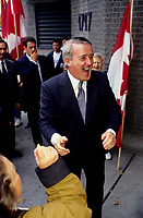 Montreal (qc) CANADA - October 1992 File Photo -<br /> Brian Mulroney shake hands during the 1992 Referendum campaign.<br /> photo : (c)  Pierre Roussel - Images Distribution