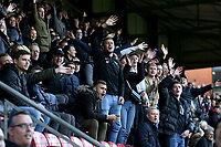 Maldon fans celebrate their victory during Leyton Orient vs Maldon & Tiptree, Emirates FA Cup Football at The Breyer Group Stadium on 10th November 2019