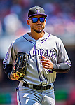 14 April 2018: Colorado Rockies outfielder Carlos Gonzalez returns to the dugout during a game against the Washington Nationals at Nationals Park in Washington, DC. The Nationals rallied to defeat the Rockies 6-2 in the 3rd game of their 4-game series. Mandatory Credit: Ed Wolfstein Photo *** RAW (NEF) Image File Available ***