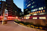 Philadelphia, Pennsylvania - An exterior view of the Emergency Room at the Childrens Hospital of Philadelphia at night.