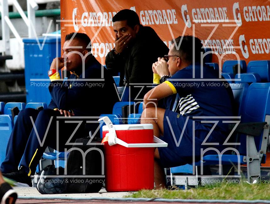 MANIZALES-COLOMBIA, 10-10-2019: Sergio Novoa, técnico de Atlético Bucaramanga, durante partido de la fecha 16 entre Once Caldas y Atlético Bucaramanga, por la Liga de Águila II 2019 en el estadio Palogrande en la ciudad de Manizales. / Sergio Novoa, coach of Atletico Bucaramanga,  during a match of the 16th date between Once Caldas and Atletico Bucaramanga, for the Aguila Leguaje II 2019 at the Palogrande stadium in Manizales city. Photo: VizzorImage  / Santiago Osorio / Cont.