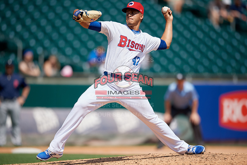 Buffalo Bisons relief pitcher Jose Fernandez (47) delivers a pitch during a game against the Pawtucket Red Sox on June 28, 2018 at Coca-Cola Field in Buffalo, New York.  Buffalo defeated Pawtucket 8-1.  (Mike Janes/Four Seam Images)