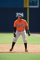 Baltimore Orioles Davis Tavarez (81) leads off first base during an Instructional League game against the New York Yankees on September 23, 2017 at the Yankees Minor League Complex in Tampa, Florida.  (Mike Janes/Four Seam Images)