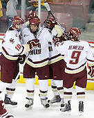 Jimmy Hayes (BC - 10), Carl Sneep (BC - 7), Barry Almeida (BC - 9) - The Boston College Eagles defeated the University of Massachusetts-Amherst Minutemen 5-2 on Saturday, March 13, 2010, at Conte Forum in Chestnut Hill, Massachusetts, to sweep their Hockey East Quarterfinals matchup.