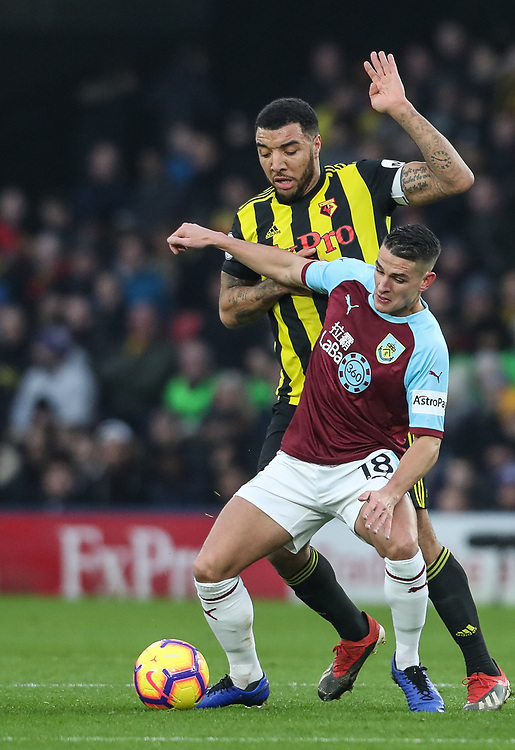Burnley's Ashley Westwood competing with Watford's Troy Deeney<br /> <br /> Photographer Andrew Kearns/CameraSport<br /> <br /> The Premier League - Watford v Burnley - Saturday 19 January 2019 - Vicarage Road - Watford<br /> <br /> World Copyright © 2019 CameraSport. All rights reserved. 43 Linden Ave. Countesthorpe. Leicester. England. LE8 5PG - Tel: +44 (0) 116 277 4147 - admin@camerasport.com - www.camerasport.com