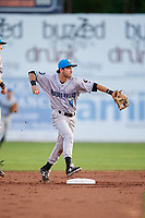 Hudson Valley Renegades second baseman Garrett Giovannelli (4) throws to first base to try to complete a double play during a game against the Connecticut Tigers on August 20, 2018 at Dodd Stadium in Norwich, Connecticut.  Hudson Valley defeated Connecticut 3-1.  (Mike Janes/Four Seam Images)