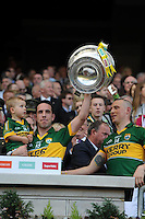 Declan o'Sullivan lifts the Sam Maguire Cup to celebrate  Kerry's victory over Donegal in the All-Ireland Football Final against  in Croke Park 2014.<br /> Photo: Don MacMonagle<br /> <br /> <br /> Photo: Don MacMonagle <br /> e: info@macmonagle.com