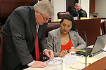 Nevada Assemblyman Skip Daly, D-Sparks, and Olivia Diaz, D-North Las Vegas, work in committee at the Legislative Building in Carson City, Nev., on Wednesday, Feb. 13, 2013..Photo by Cathleen Allison