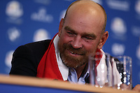 Thomas Bjorn (EUR) during the final European Team Press Conference after Sunday's Singles at the 2014 Ryder Cup from Gleneagles, Perthshire, Scotland. Picture:  David Lloyd / www.golffile.ie
