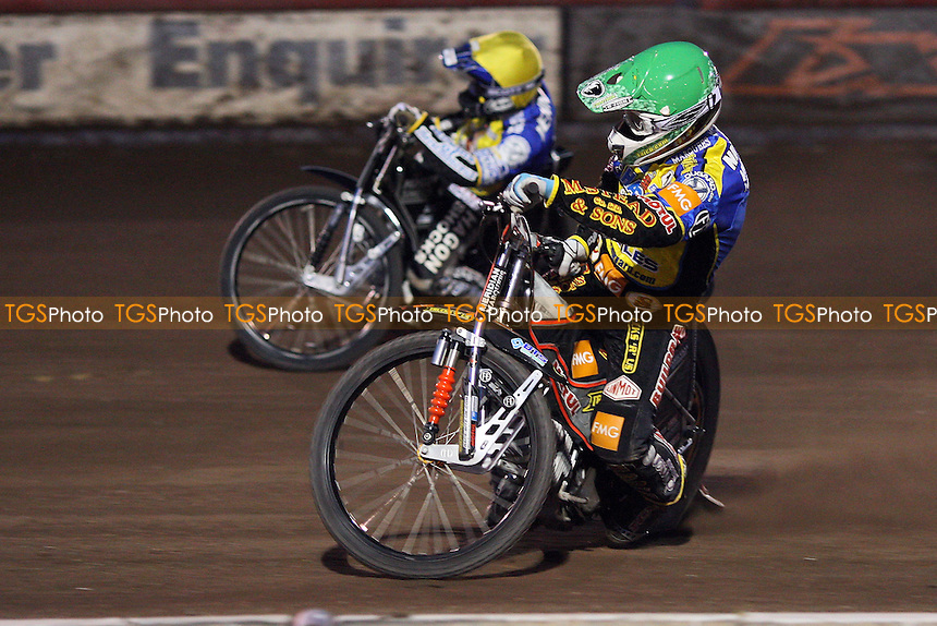 Heat 13: Scott Nicholls (green) and Edward Kennett on their way to a 5-1 - Lakeside Hammers vs Eastbourne Eagles - Sky Sports Elite League Speedway at Arena Essex, Purfleet - 04/08/08 - MANDATORY CREDIT: Gavin Ellis/TGSPHOTO - Self billing applies where appropriate - Tel: 0845 094 6026.