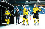 Stockholm 2014-11-16 Ishockey Hockeyallsvenskan AIK - IF Bj&ouml;rkl&ouml;ven :  <br /> AIK:s Michael Lindqvist , Patric Blomdahl och Robin Kovacs deppar efter matchen mellan AIK och IF Bj&ouml;rkl&ouml;ven <br /> (Foto: Kenta J&ouml;nsson) Nyckelord:  AIK Gnaget Hockeyallsvenskan Allsvenskan Hovet Johanneshov Isstadion Bj&ouml;rkl&ouml;ven L&ouml;ven IFB depp besviken besvikelse sorg ledsen deppig nedst&auml;md uppgiven sad disappointment disappointed dejected